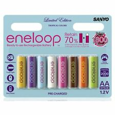 Sanyo eneloop Tropical Colours 8 x AA Rechargeable NiMH LSD Batteries Oz Stock