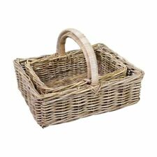 Kubo Grey Rattan Hamper Garden Trug Baskets 2 sizes Square Shop Display Home