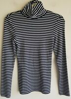 J.Crew Navy White Striped Long Sleeve Turtleneck Top Shirt Sz S New