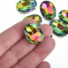 4 RAINBOW VITRAIL Crystal OVAL Findings Sew On Montee Beads 25x18mm cry0198