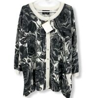 NWT Bob Mackie Black White Rose Print Button Cardigan Sweater Women's 3X