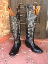 Black Cowhide Custom Hand Made Riding Cowboy boots Ladies Size 9B