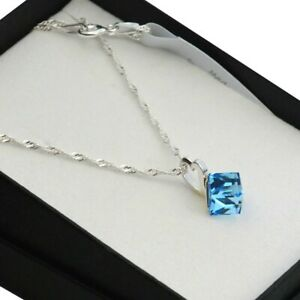 11 COLOURS Sterling Silver Necklace/Set made with Swarovski Crystals CUBE 6mm