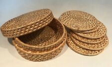 "Set of 6 Round Woven Raffia Natural Trivets with Storage Basket Box - 5.25"" wide"