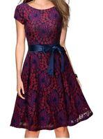 Women's Vintage Floral Lace Cocktail Evening Party Dress