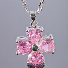Wedding Heart Cut Pink Sapphire CZ White Gold Plated Flower Pendant Necklace