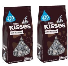 TWO bags HERSHEY'S MILK CHOCOLATE KISSES candy 56 oz Each FRESH Bulk 330 X 2