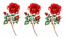 Ceramic Decals Red Rose Stem Flower Floral Buds 3.25+ inch