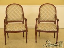 45307EC: Pair French Louis XVI Open Arm Upholstered Chairs