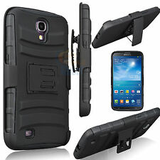 For Samsung Galaxy Mega 6.3 Armor Rubber Hard Stand Case Cover w/Holster Black