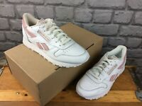 REEBOK LADIES UK 5 EU 38 CLASSIC LEATHER TRAINERS WHITE PINK M