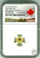 2019 CANADA G25C .9999 GOLD 40TH MAPLE LEAF NGC PF70 REVERSE PROOF RCM RARE !!!