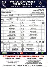 Teamsheet - Bolton Wanderers v FK Rabotnicki Kometal 2007/8 UEFA Cup
