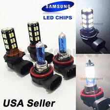 Combo Set H11 White Halogen + 9005 Samsung LED 30 SMD Light Bulb #Gr3 Lo/Hi Beam