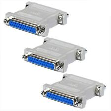 3x DB25 25 Pin Female to Female Parallel Port Null Modem Adapter Gender Changer