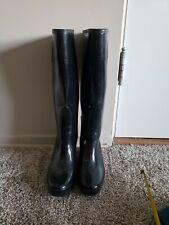 LIMITED HUNTER Black Glossy Wedge Platform Rubber Rain Boots US 7M/8F EUR 39