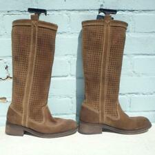 Superdry Leather Boots Size UK 4 Eur 37 Womens Shoes Pull on Brown Suede Boots