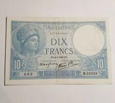 Billet 10 Francs MINERVE 2-1-1941 Ayant circulé