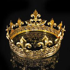 Boy's Imperial Medieval Fleur De Lis Gold King Crown 8.5cm High 15cm Diameter