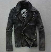 Mens Vintage retro punk motor biker Denim Jeans Jacket Coat black