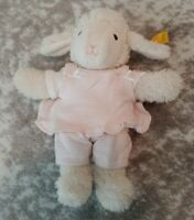 "Steiff White Cream Sheep Lamb Knopf Im Ohr Stuffed Plush w/ Pink Clothes 9"""