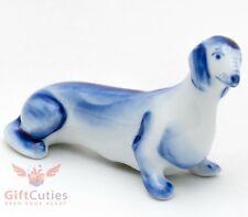 Gzhel Porcelain Dachshund dog Figurine handmade