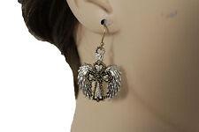 Women Silver Metal Western Fashion Jewelry Earrings Set Angel Wings Cross Gold