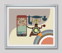 Art Classic Vintage Telephone Wall Poster Print Home Wall Decor Cubist Painting