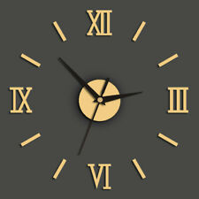 Roman Numerals Walls Clock Antique DIY Self Adhesive Acrylic Living Room Decor