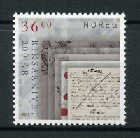 Norway 2017 MNH National Archives Bicentenary 1v Set Stamps