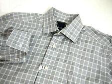 David Donahue Mens Dress Shirt 16 32-33 Grey White Plaid Collared Button French