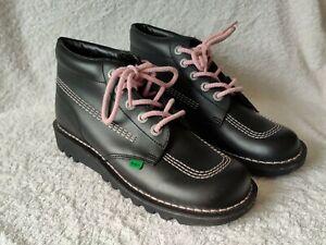 Kickers Kick Hi High Women Ladies Boots - Black & Pink Laces UK Size 7 EU41