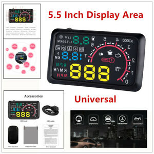 """5.5"""" Car OBD2 HUD Head Up Display Vehicle Fuel Consumption Speed Warning Protect"""