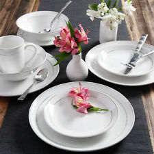 16 Piece Round Dinnerware Set Kitchen White Dining Plates Dishes Bowls Mugs
