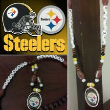 Steelers Wooded bead nacklace and bracelet