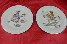 "Lenox Plates Special Boy & Girl Rocking Horse Toy Bone China Plate 8"" Lot Child"
