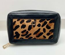 Zippered Black Leather Travel Jewelry Case by Lodis