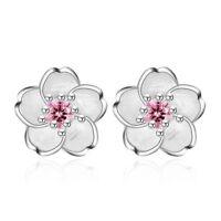 925 Silver Crystal Cherry Blossoms Flower Ear Stud Earrings Women Girl's Jewelry