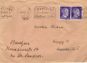 1942 – WWII ORIGINAL GERMAN 3rd REICH COVER WITH LETTER – HITLER STAMPS