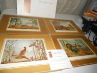 Vintage Placemats English Life Game Birds Turkey Grouse Quail Ring-neck Pheasant