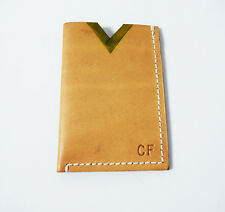 Hand Made Leather Business Card and Card Holder Wallet Light Brown