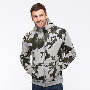 Nike Mens Full Zip Camo Fleece Hoodie - AH7019-063 - Sz S - Grey/Camo