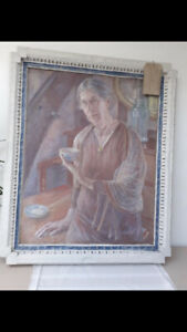 Antique Original Oil On Canvas Huge 1m By 1m exhibited at The Royal Academy