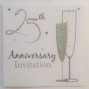 Pack Of 6 Silver 25th Wedding Anniversary Invitation Cards With Envelopes