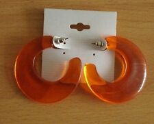 Creolen. Orange. Kunststoff. Transparent. Creole. Butterfly. Ohrstecker. 4,3 cm