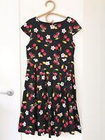 BEAUT'E FASHION Size 14 Black Cherry Print Retro Rockabilly Fit & Flare Dress