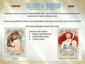 2021 Topps Allen & Ginter Chrome Baseball Hobby Box (Presell)