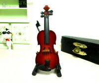 Dollhouse Miniature Musical Instrument Wood Cello Violin Decor Case Stand 1:12