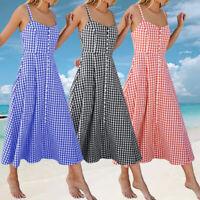 Summer Womens Check Strap Sleeveless Dress A Line Beach Party Long Maxi Dress