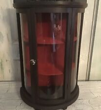 Beautiful Half Round Vintage Curio Cabinet With Red Velvet Liner